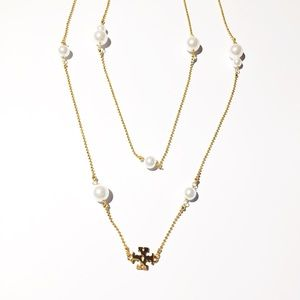 NWOT Tory Burch Gold Logo Pearl Long Necklace
